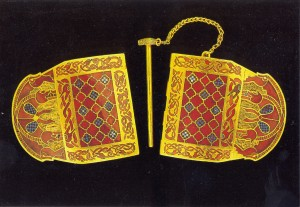 One of gold shoulder clasps with cloisonne and millefiori C7th Sutton Hoo BM